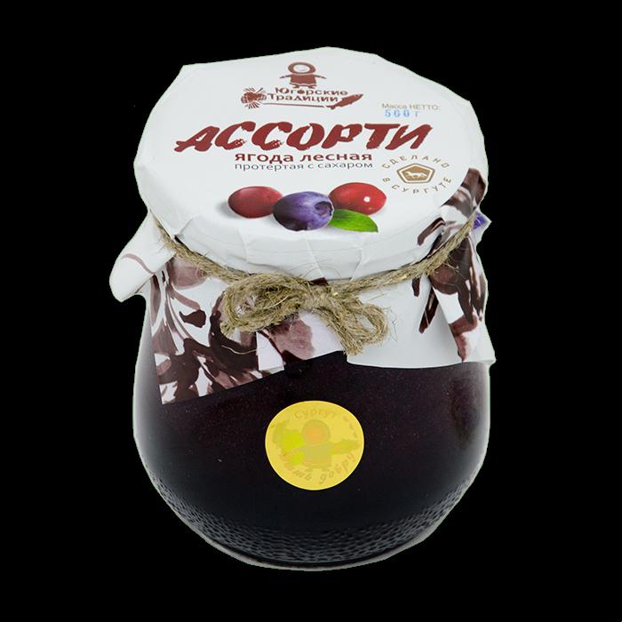 Ягода АССОРТИ (брусника,клюква,черника) протертая с сахаром, ст/б 500гр