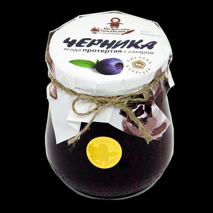 ЧЕРНИКА Ягода протертая с сахаром 500 гр