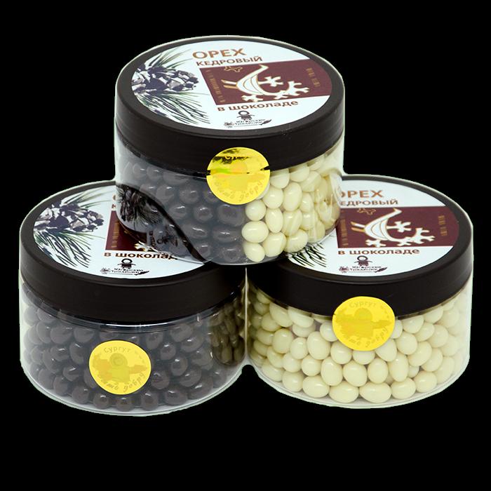 Конфеты Драже Кедровый орех в шоколадной глазури, пласт/б 200гр